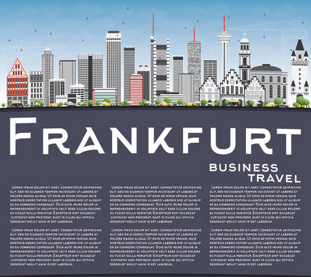 frankfurt: Frankfurt Skyline with Gray Buildings, Blue Sky and Copy Space. Vector Illustration. Business Travel and Tourism Concept with Modern Buildings. Image for Presentation Banner Placard and Web Site.