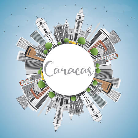 caracas: Caracas Skyline with Gray Buildings, Blue Sky and Copy Space. Vector Illustration. Business Travel and Tourism Concept with Historic Buildings. Image for Presentation Banner Placard and Web Site.