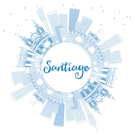 santiago: Outline Santiago Chile Skyline with Blue Buildings and Copy Space. Vector Illustration. Business Travel and Tourism Concept with Modern Buildings. Image for Presentation Banner Placard and Web Site. Illustration
