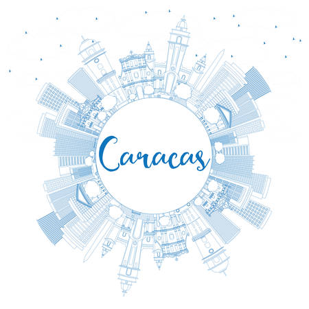 caracas: Outline Caracas Skyline with Blue Buildings and Copy Space. Vector Illustration. Business Travel and Tourism Concept with Historic Buildings. Image for Presentation Banner Placard and Web Site.