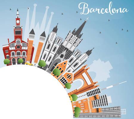 Barcellona Skyline con costruzioni di colore, cielo blu e copia spazio. Illustrazione vettoriale. Viaggi d'affari e turismo Concetto di edifici storici. Immagine per la presentazione della bandiera Manifesto e sito Web.