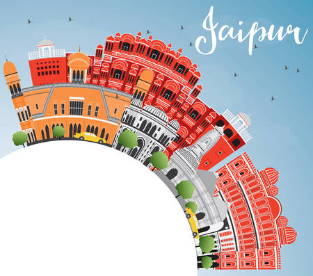 Jaipur Skyline with Color Landmarks, Blue Sky and Copy Space. Vector Illustration. Business Travel and Tourism Concept with Historic Buildings. Image for Presentation Banner Placard and Web Site.