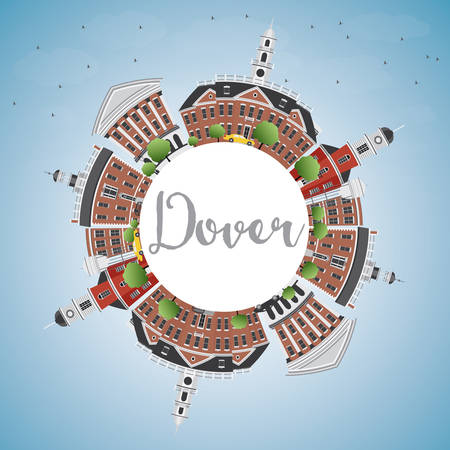 historic: Dover Skyline with Color Buildings, Blue Sky and Copy Space. Vector Illustration. Business Travel and Tourism Concept with Historic Buildings. Image for Presentation Banner Placard and Web Site.