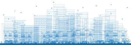 abstract building: Outline City Skyscrapers. Vector Illustration. Business Travel and Tourism Concept with Place for Text. Image for Presentation, Banner, Placard and Web Site