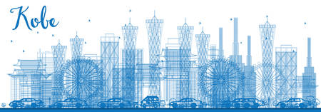 kobe: Outline Kobe Skyline with Blue Buildings. Vector Illustration. Business and Tourism Concept with Modern Buildings. Image for Presentation, Banner, Placard or Web Site. Illustration