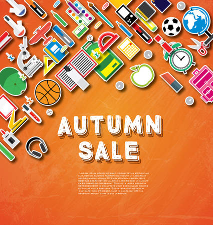 ball pens stationery: Autumn sale banner with school supplies on orange chalk board background. Vector illustration. School banner with copy space. Vectores