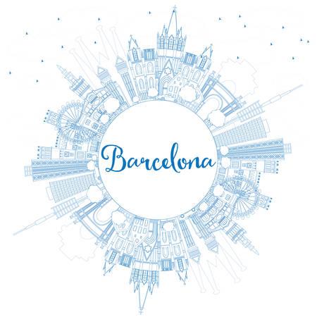 ブルーの建物とコピー スペース概要バルセロナ スカイライン。ベクトルの図。ビジネス旅行と観光概念の歴史的建造物。プレゼンテーション バナー プラカードと Web サイトのイメージです。