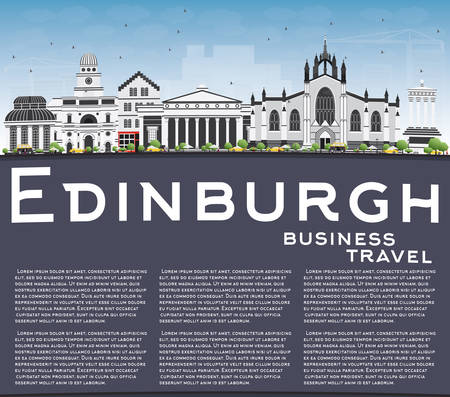 edinburgh: Edinburgh Skyline with Gray Buildings, Blue Sky and Copy Space. Vector Illustration. Business Travel and Tourism Concept with Historic Buildings. Image for Presentation Banner Placard and Web Site. Illustration