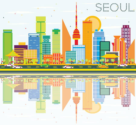 Seoul Skyline with Color Buildings, Blue Sky and Reflections. Vector Illustration. Business Travel and Tourism Concept with Seoul Modern Buildings. Image for Presentation and Banner.