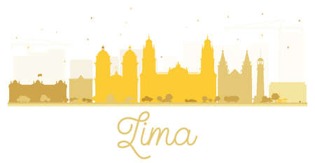 Lima City skyline golden silhouette. Vector illustration. Simple flat concept for tourism presentation, banner, placard or web site. Cityscape with landmarks