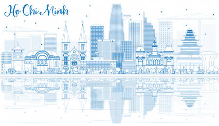 chi: Outline Ho Chi Minh Skyline with Blue Buildings and Reflections. Vector Illustration. Business Travel and Tourism Concept with Modern Buildings. Image for Presentation Banner Placard.