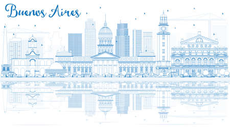 aires: Outline Buenos Aires Skyline with Blue Landmarks and Reflections. Vector Illustration. Illustration