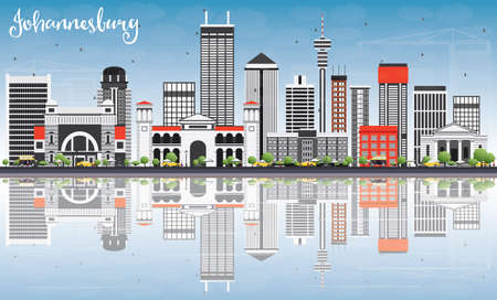 Johannesburg Skyline with Gray Buildings, Blue Sky and Reflections. Vector Illustration. Business Travel and Tourism Concept with Johannesburg Modern Buildings. Image for Presentation and Banner. Illustration