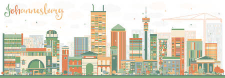 Abstract Johannesburg Skyline with Color Buildings. Vector Illustration. Business Travel and Tourism Concept with Johannesburg Modern Buildings. Image for Presentation and Banner.