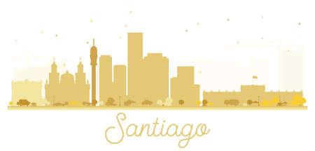 santiago: Santiago City skyline golden silhouette. Vector illustration. Cityscape with landmarks.