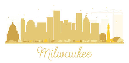Milwaukee City skyline golden silhouette. Vector illustration. Simple flat concept for tourism presentation, banner, placard or web site. Cityscape with landmarks