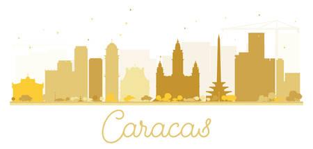 caracas: Caracas City skyline golden silhouette. Vector illustration. Simple flat concept for tourism presentation, banner, placard or web site. Cityscape with landmarks