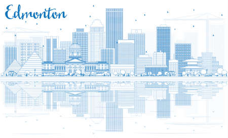 edmonton: Outline Edmonton Skyline with Blue Buildings and Reflections. Vector Illustration. Business Travel and Tourism Concept with Modern Buildings. Image for Presentation Banner Placard and Web Site. Illustration