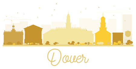 dover: Dover City skyline golden silhouette. Vector illustration. Simple flat concept for tourism presentation, banner, placard or web site. Business travel concept. Cityscape with landmarks
