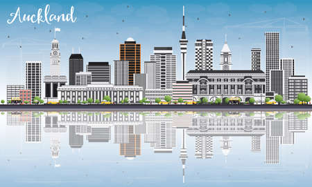 new zealand landscape: Auckland Skyline with Gray Buildings, Blue Sky and Reflections. Vector Illustration. Business Travel and Tourism Concept with Modern Buildings. Image for Presentation Banner Placard and Web Site. Illustration