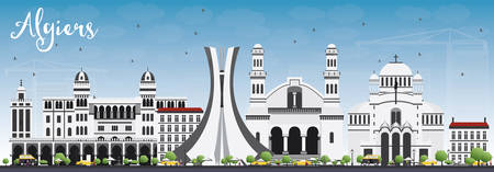 algiers: Algiers Skyline with Gray Buildings and Blue Sky. Vector Illustration. Business Travel and Tourism Concept with Historic Buildings. Image for Presentation Banner Placard and Web Site.
