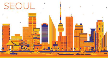 Abstract Seoul Skyline with Color Buildings. Vector Illustration. Business Travel and Tourism Concept with Modern Buildings. Image for Presentation Banner Placard and Web Site.