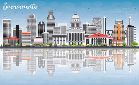 Sacramento Skyline with Gray Buildings, Blue Sky and Reflections. Vector Illustration. Business Travel and Tourism Concept with Modern Architecture. Image for Presentation Banner Placard and Web Site. Illustration