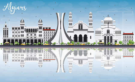 algiers: Algiers Skyline with Gray Buildings, Blue Sky and Reflections. Vector Illustration. Business Travel and Tourism Concept with Historic Buildings. Image for Presentation Banner Placard and Web Site.