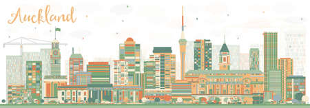 new zealand landscape: Abstract Auckland Skyline with Color Buildings. Vector Illustration. Business Travel and Tourism Concept with Modern Buildings. Image for Presentation Banner Placard and Web Site.