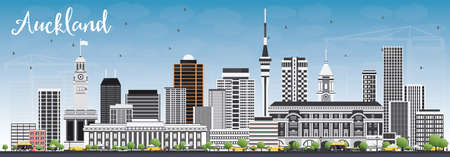 Auckland Skyline with Gray Buildings and Blue Sky. Vector Illustration. Business Travel and Tourism Concept with Modern Buildings. Image for Presentation Banner Placard and Web Site. Illustration