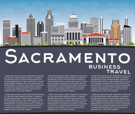 sacramento: Sacramento Skyline with Gray Buildings, Blue Sky and Copy Space. Vector Illustration. Business Travel and Tourism Concept with Modern Architecture. Image for Presentation Banner Placard and Web Site. Illustration