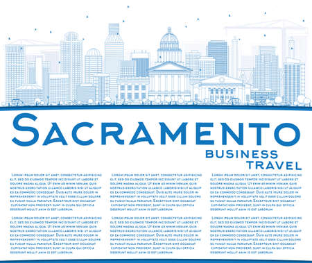 Outline Sacramento Skyline with Blue Buildings and Copy Space. Vector Illustration. Business Travel and Tourism Concept with Modern Architecture. Image for Presentation Banner Placard and Web Site.