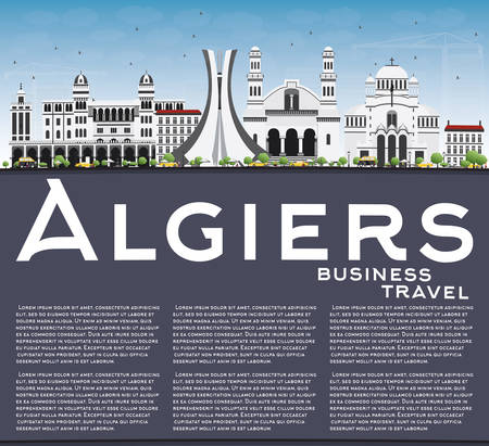 algiers: Algiers Skyline with Gray Buildings, Blue Sky and Copy Space. Vector Illustration. Business Travel and Tourism Concept with Historic Architecture. Image for Presentation Banner Placard and Web Site.