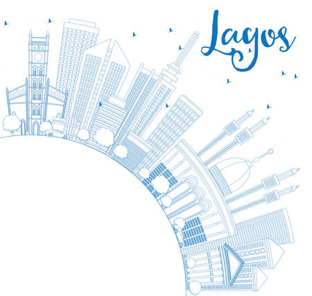 lagos: Outline Lagos Skyline with Blue Buildings and Copy Space. Vector Illustration. Business Travel and Tourism Concept with Modern Architecture. Image for Presentation Banner Placard and Web Site.