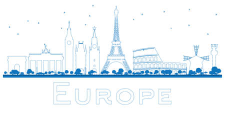 sights of moscow: Outline Famous landmarks in Europe. Vector illustration. Business travel and tourism concept. Image for presentation, banner, placard and web site