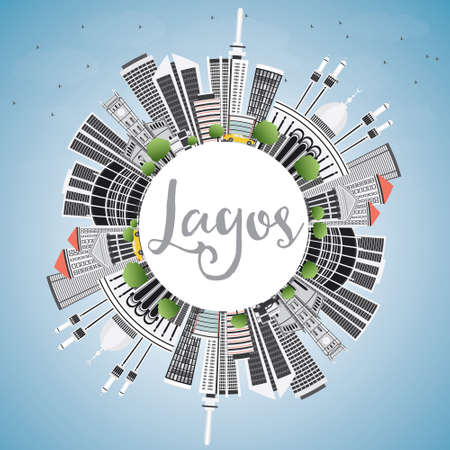 lagos: Lagos Skyline with Gray Buildings, Blue Sky and Copy Space. Vector Illustration. Business Travel and Tourism Concept with Modern Architecture. Image for Presentation Banner Placard and Web Site.