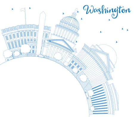 lincoln: Outline Washington DC Skyline with Blue Buildings and Copy Space. Vector Illustration. Business Travel and Tourism Concept with Historic Architecture. Image for Presentation Banner Placard and Web Site.
