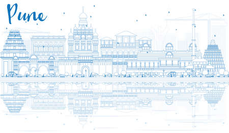 Outline Pune Skyline with Blue Buildings and Reflections. Vector Illustration. Business Travel and Tourism Concept with Historic Architecture. Image for Presentation Banner Placard and Web Site. Banco de Imagens - 63735974