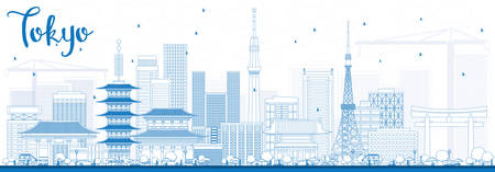 Outline Tokyo Skyline with Blue Buildings. Vector Illustration. Business Travel and Tourism Concept with Modern Architecture. Image for Presentation Banner Placard and Web Site.  イラスト・ベクター素材