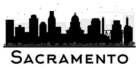 Sacramento City skyline black and white silhouette. Vector illustration. Simple flat concept for tourism presentation, banner, placard or web site. Business travel concept. Cityscape with landmarks