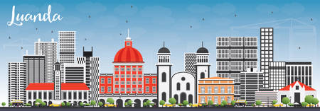 panorama city: Luanda Skyline with Gray Buildings and Blue Sky. Vector Illustration. Business Travel and Tourism Concept with Modern Architecture. Image for Presentation Banner Placard and Web Site.