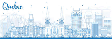 quebec city: Outline Quebec Skyline with Blue Buildings. Vector Illustration. Business Travel and Tourism Concept with Historic Architecture. Image for Presentation Banner Placard and Web Site. Illustration