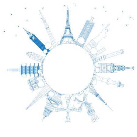 Outline Travel Concept Around the World met beroemde internationale Landmarks. Vector Illustratie. Business and Tourism Concept met Copy Space. Afbeelding voor Presentatie, Plakkaat, Banner of Website. Vector Illustratie