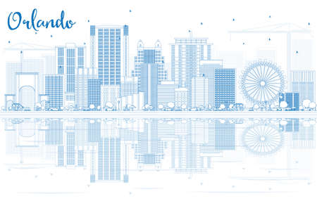 orlando: Outline Orlando Skyline with Blue Buildings and Reflections. Vector Illustration. Business Travel and Tourism Concept with Modern Architecture. Image for Presentation Banner Placard and Web Site. Illustration