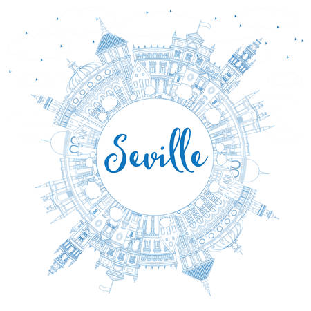 Outline Seville Skyline with Blue Buildings and Copy Space. Vector Illustration. Business Travel and Tourism Concept with Historic Architecture. Image for Presentation Banner Placard and Web Site.
