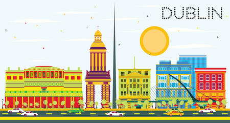 Dublin Skyline with Color Buildings and Blue Sky. Vector Illustration. Business Travel and Tourism Concept with Historic Architecture. Image for Presentation and Banner.