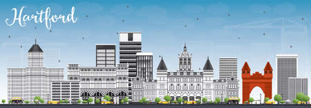 Hartford Skyline with Gray Buildings and Blue Sky. Vector Illustration. Business Travel and Tourism Concept with Historic Architecture. Image for Presentation Banner Placard and Web Site.