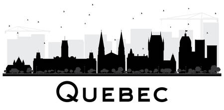 Quebec City skyline black and white silhouette. Vector illustration. Simple flat concept for tourism presentation, banner, placard or web site. Business travel concept. Cityscape with landmarks Иллюстрация