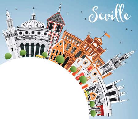 色の建物、青い空コピー スペースとセビリアのスカイライン。ベクトルの図。ビジネス旅行や歴史的建造物を観光概念です。プレゼンテーション バ  イラスト・ベクター素材
