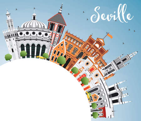 Seville Skyline with Color Buildings, Blue Sky and Copy Space. Vector Illustration. Business Travel and Tourism Concept with Historic Architecture. Image for Presentation Banner Placard and Web Site. Ilustração
